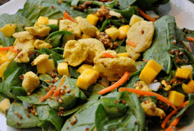 Spinach, Mango, and Red Quinoa Salad (with Chicken)