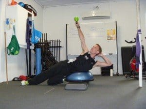 Bosu oblique crunch